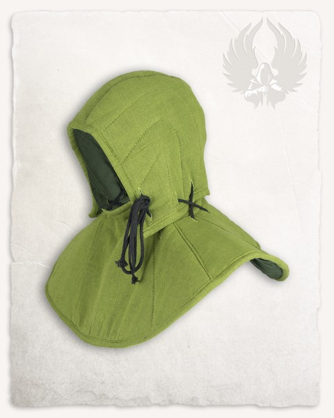 Aulber padded collar with coif linen moss green LIMITED EDITION