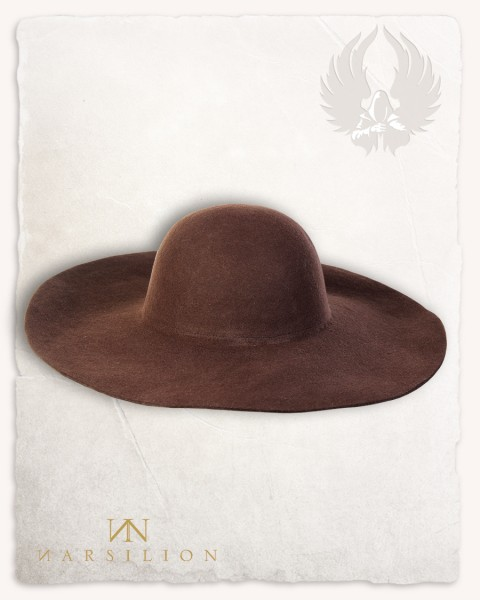 Felted hat with wide brim brown