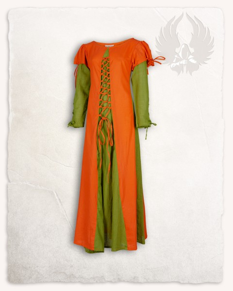 Rebecka dress orange/moss green
