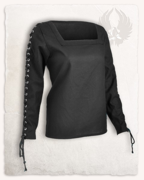Abby blouse metal eyelets black