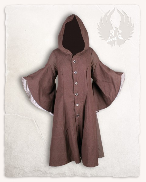 Lilian hooded coat canvas brown/cream