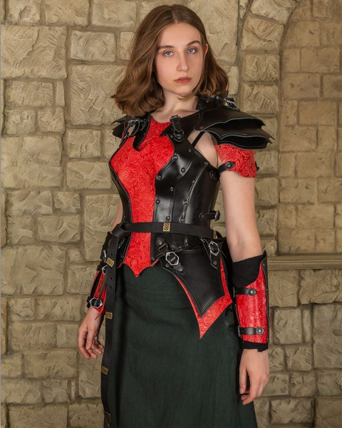 Morgana leather armour set black/red floral pattern