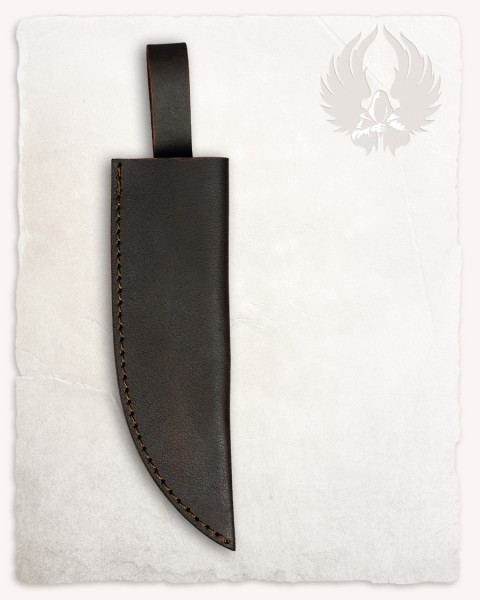 Belisar damascus knife leather sheath brown