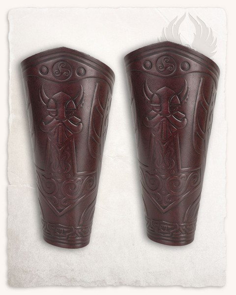 Ragnarok Thor leather bracers red