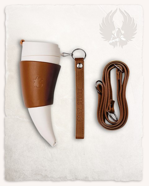 Mug drinking horn white/brown