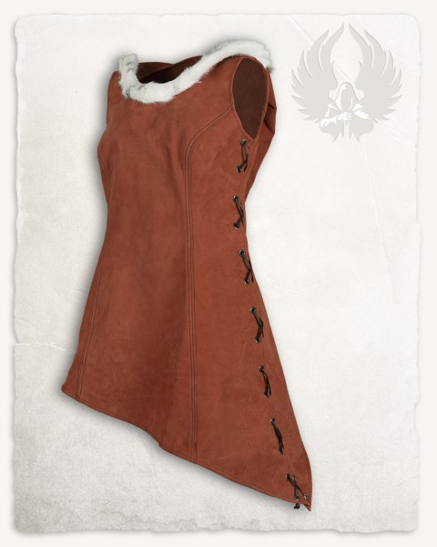 Freya hooded dress reddish-brown