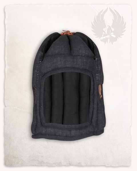 Aulber padded coif closed linen black