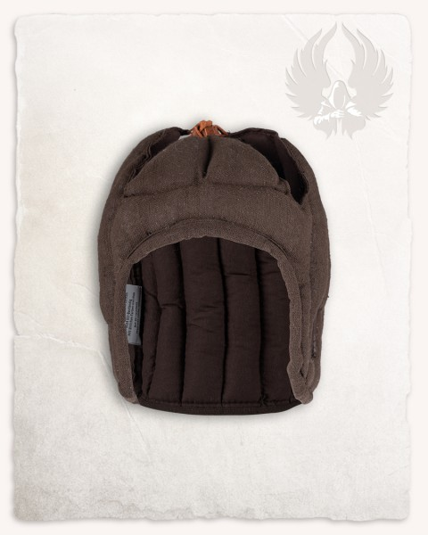 Aulber padded coif open linen brown