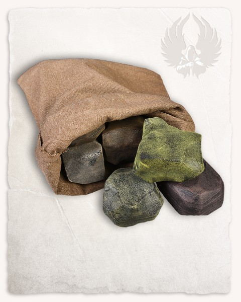 Throwing stone set (9) incl. fabric bag