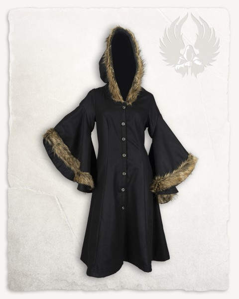 Lilian hooded coat wool with fur black LIMITED EDITION