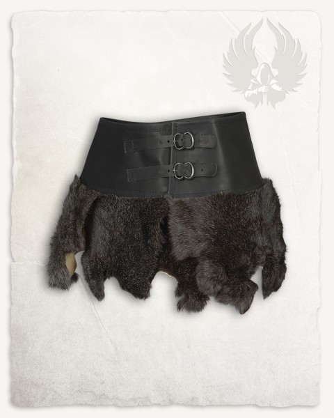 Karya fur skirt with buckles black
