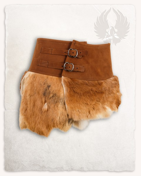 Karya fur skirt with buckles brown